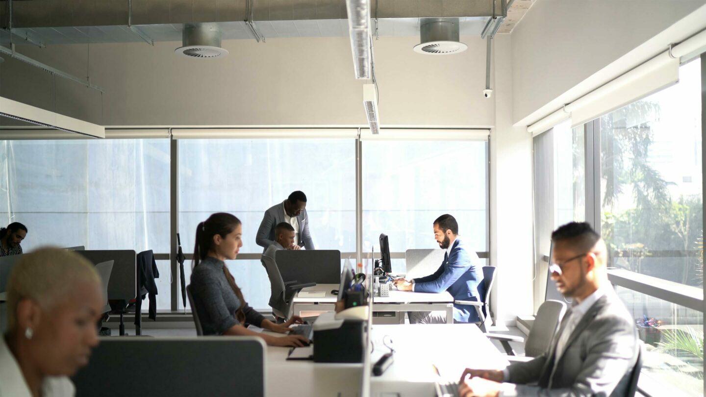 Une demi-douzaine de collaborateurs concentrés sur leur écran en open space