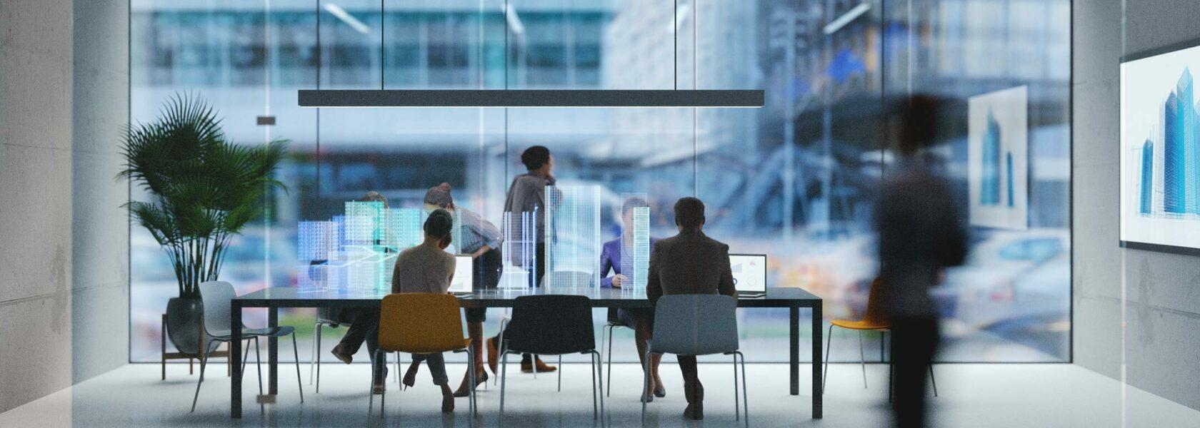 Espace de coworking avec table de travail holographique
